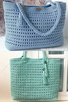 Toque na imagem para aprender croch passo a passo e ter acesso a gr ficos exclusivos - Diy Crochet Purse, Crochet Market Bag, Crochet Handbags, Crochet Purses, Crochet Baby, Knit Crochet, Crochet Drawstring Bag, Drawstring Bag Pattern, Knitted Bags