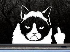 Grumpy Cat Finger Car Decal - $5