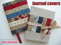 "Moda Bake Shop Journal Covers - uses a fat quarter and ""honeybun"" precut Notebook Covers, Journal Covers, Book Journal, Sewing Tutorials, Sewing Crafts, Sewing Projects, Sewing Patterns, Sewing Ideas, Patchwork Quilt"