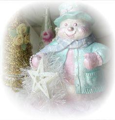SNOWMAN Shabby Sweet Plaster/Chalkware by RoseChicFriends on Etsy, $24.99
