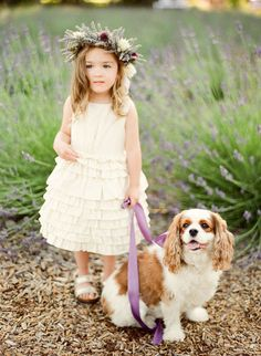 Have your flower girl lead your family dog instead of carrying a flower basket. What a great way to include your puppy in your wedding!