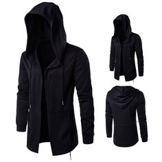 Plus Size Black Fashion Casual Mid Long Cloakman Cloak Hooded Jacket for Men