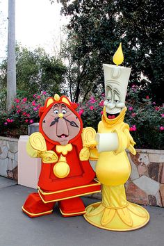 * COGSWORTH LUMIERE ~ Beauty and the Beast, 199l....A rare picture of Lumiere and Cogsworth together. This is so cool! I want to see them