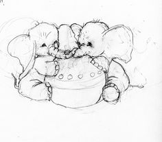 PINEAULT UNCOMMON ART: baby elephants sketch for watercolor in child's room