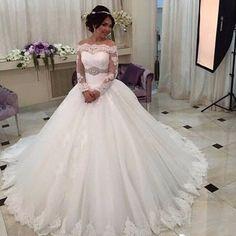 Long Sleeve Ball Gown Wedding Dress Sexy Princess Wedding Dress