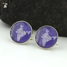 India Cufflinks - Indian Postage Stamp Sterling Silver Cufflinks (Cuff Links) - Groom fashion accessories (*Amazon Partner-Link)
