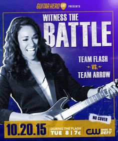 Witness the ultimate showdown for ONE NIGHT only during tomorrow's new episode of at The Flash 2, Guitar Hero Live, Flash Barry Allen, Iris West, Arrow Oliver, Team Arrow, Fastest Man, Himym, Grant Gustin