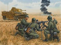 The Battle of Kursk, July Panzerkampfwagen V Panther from 39 Panzer Regiment (von Lauchert). Anime Military, Military Art, Military History, German Soldiers Ww2, German Army, Mg34, Military Drawings, Germany Ww2, Civil War Photos