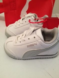 5f3ed7bc33 NIB PUMA baby sneakers white and grey Size 5 shoes runners Puma Sneakers