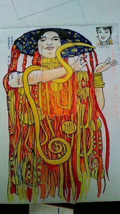 Dessin sur enveloppe (ref. Klimt)