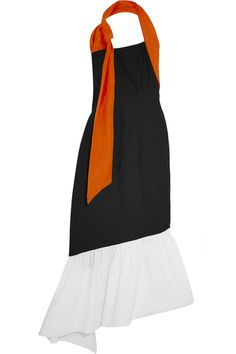 Isa Arfen - Asymmetric Linen-trimmed Color-block Cotton-blend Dress - Black - UK10