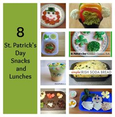 Here are 8 simple St. Patrick's Day themed snack and lunches! #stpatricksday #stpatricksdaykids #snacks #lunch