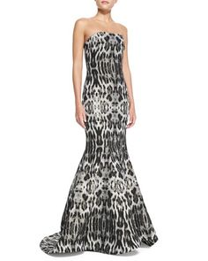 Strapless Animal-Print Mermaid Gown by Badgley Mischka Collection at Neiman Marcus.