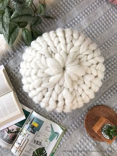 White Round Chunky Knit Pillow, Wool Knit Pillow, Merino Wool, Decorative Pillow, Knit Cushion, Hand Knitted Pillow, Ship from USA