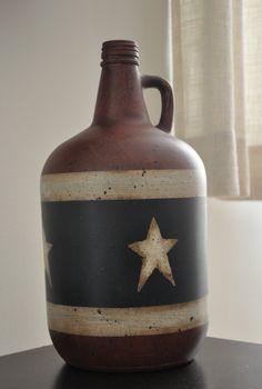 Painted Wine bottle by primitivetomodernart on Etsy, $18.00
