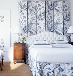 This large-scale blue  white toile would make waking up in the morning such a cheery pleasure!