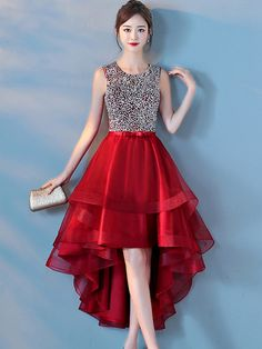 Sequin Solid Color Mesh O-Neck Sleeveless Maxi Dresses Short Red Prom Dresses, Red Homecoming Dresses, High Low Prom Dresses, Girls Dresses, Short Prom, Maxi Dresses, Girl Fashion, Fashion Dresses, Designer Party Dresses