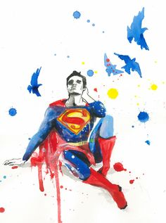 "DeviantArt artist Lora8 /// ""Depressed Superman""  @Melina Martinez Martinez Ann Look at poor Nancy!!!"