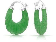 Bling Jewelry Carved Green Jade Sterling Silver Hoop Earrings. #SterlingSilverHoops