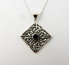 Sterling silver Irish Celtic Knot with Black by celtictreasures