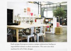 Sugar Paper Interview & Wedding Invitations | B-Inspired | BHLDN Would just love a studio like that!