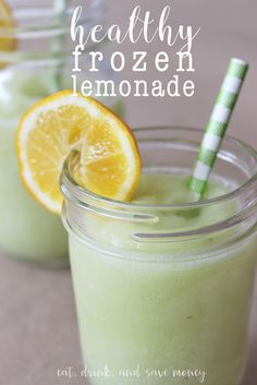 Make frozen lemonade slushies healthy by skipping sugar and using grapes instead! This is the perfect summer drink for kids and adults