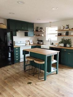 home repairs,home maintenance,home remodeling,home renovation Green Kitchen Decor, Green Kitchen Cabinets, Home Decor Kitchen, Kitchen Living, Interior Design Kitchen, New Kitchen, Home Kitchens, Kitchen Ideas, Teal Cabinets
