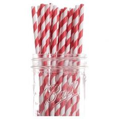 Pemberton Paper Drinking Straws in Candy Apple Red
