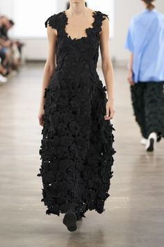 Black Luciano appliquéd woven gown | The Row | NET-A-PORTER