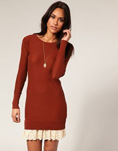 """Add a row of 6"""" lace peaking out of under a sweather dress to bring feminine to a fall look!  Marvelous! :)"""