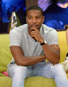 "Michael B. Jordan Photos - Michael B. Jordan are seen on the set of Despierta America to promote the film ""Fantastic Four"" at Univision Studios on July 2015 in Miami, Florida. - Celebrities on the Set of Despierta America - July 2015 Michael Bakari Jordan, Film Fantastic, Bae, Handsome Black Men, Handsome Guys, Black Man, Attractive Men, Good Looking Men, Swagg"