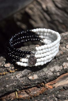 Black And White Boho Memory Wire Bracelet by HoleInHerStocking, $15.00 beaded…