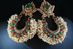 pearl chandbali earrings - Google Search