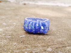 Lavender, Cornflower swarovski ring, handmade, blue, purple, crystal, shiny. Online shopping: https://www.kichink.com/stores/chiiica