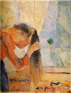 edvard munch (norwegian, 1863 - 1944) girl combing her hair 1892 rasmus meyer collection, bergen, norway