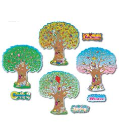 """This colorful, nature-themed bulletin board set includes:  4 seasonal trees (approx. 25"""" tall each) 4 coordinating season headers A resource guide"""