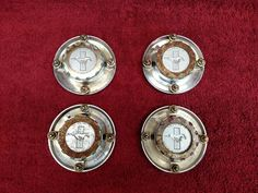 NOS 1967 1968 1969 MUSTANG SET OF 4 WIRE WHEEL COVER CENTERS HUB CAPS 67 68