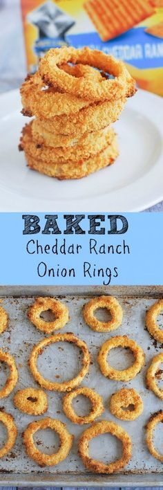 Baked Cheddar Ranch Onion Rings - crispy onion rings without frying!