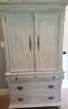 Armoire done in Dixie Belle Drop Cloth chalk paint https://www.facebook.com/fancythatfurnishings
