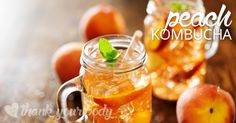 Ready for a refreshing peach kombusha tea recipe? You have to try this!  Kombucha is a fermented sweet tea. Kombucha has been associated with a long list ofhealthbenefits. It's a probiotic drink with helpful bacteria that support digestion and the immune system. It also contains enzymes, amino acids, antioxidants and polyphenols.  Kombucha tea can be a little
