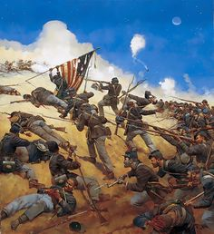 54th Massachusetts Infantry at Fort Wagner by Keith Rocco