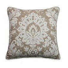 image of Sherry Kline Florentine Damask Throw Pillow in Taupe