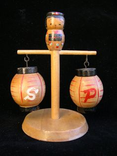 Vintage Japanese Lantern Salt & Pepper Shakers with Stand