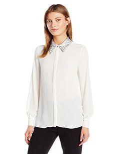 Ellen Tracy Women's Jacquard Collar Soft Shirt - http://www.darrenblogs.com/2016/10/ellen-tracy-womens-jacquard-collar-soft-shirt/