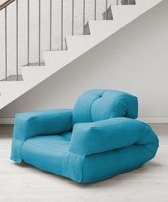 Horizon Blue Hippo Convertible Futon Chair by Jaxx Bean Bags