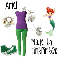 Ariel Inspired Outfit, created by #tinkpink08 on #polyvore. #fashion #style #Dollhouse #Converse #disney #disney fashion #ariel