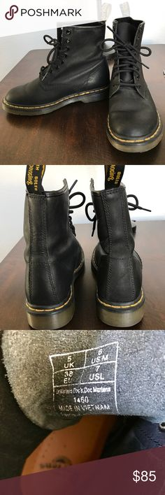 Dr. Martens | Doc Martens These are a great addition to any outfit to achieve a more edgy look. Very comfortable. Great condition. No smell. Worn a few times, but sadly my feet grew about a half of a size this year and they are now too tight. Doesn't come with a box or tags. Dr. Martens Shoes Lace Up Boots