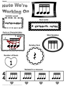 """Make 30 copies. Put in plastic sleeve or laminate. S.W. use a dry erase marker to fill it in. Can be done with 1st-5th grade. Fill crew circle first and have students look for the note in the music we are working with. When they see the note they hold a thumb up and shake it. Have students count how many they see and where they found it. Extra: Create a """"Note Wall"""" (similar to a Word Wall)"""