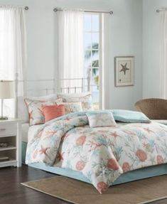 Discover the best coastal bedding sets and beach bedding sets. You will love our beach home bedding sets like comforters, quilts, and duvet cover sets. Coral Bedding Sets, Beach Bedding Sets, Coastal Bedding, Coastal Bedrooms, Luxury Bedding, Nautical Bedding, Coastal Quilts, Beach Bedrooms, Bed Sets