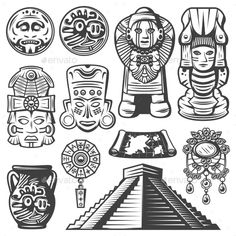 Buy Vintage Monochrome Maya Elements Set by VectorPot on GraphicRiver. Vintage monochrome maya elements set with ceremonial masks totems coins mayan calendar jewelry vase map pyramid isola. Aztec Symbols, Viking Symbols, Egyptian Symbols, Viking Runes, Ancient Symbols, Mayan Tattoos, Inca Tattoo, Dessin Aztec, Tatto Maya